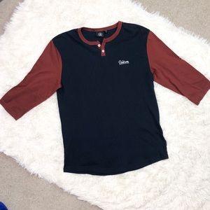 Volcom Men's Thermal Henley Quarter Sleeve Shirt M